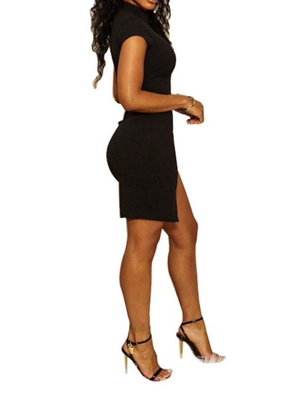 Above Knee Stand Collar  Color Block Women's Bodycon Dress