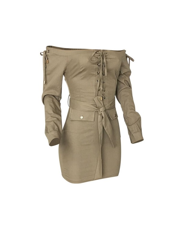 Above Knee Lace-Up Long Sleeve Mid Waist Women's Bodycon Dress