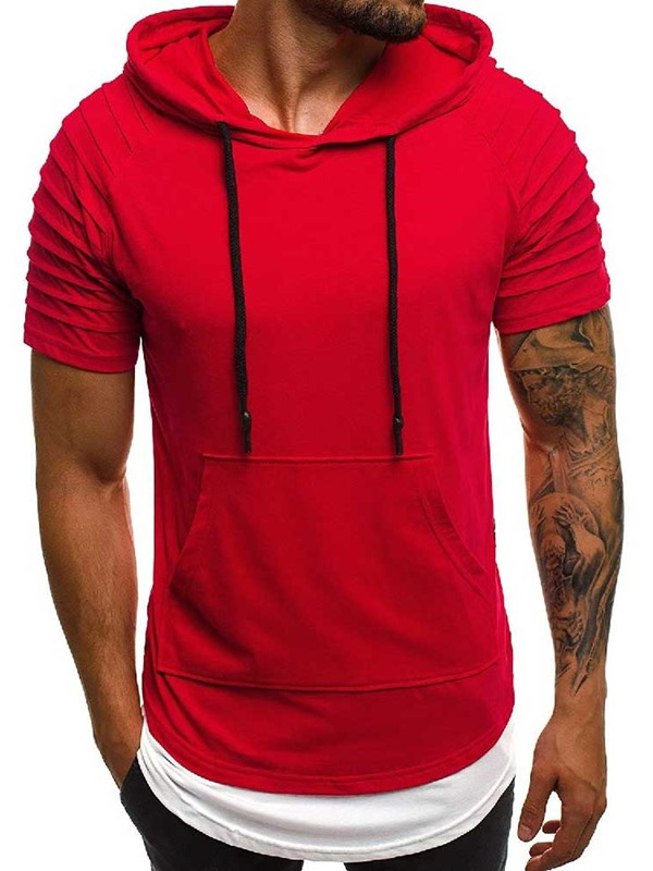 Plain Hooded Patchwork Pleated Men's T-shirt
