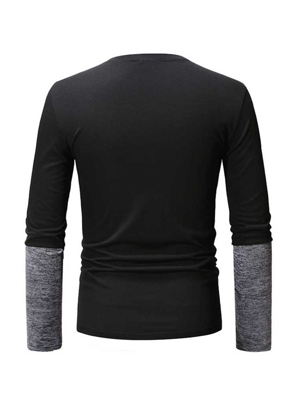 Casual Patchwork Round Neck Color Block Long Sleeve Men's T-shirt