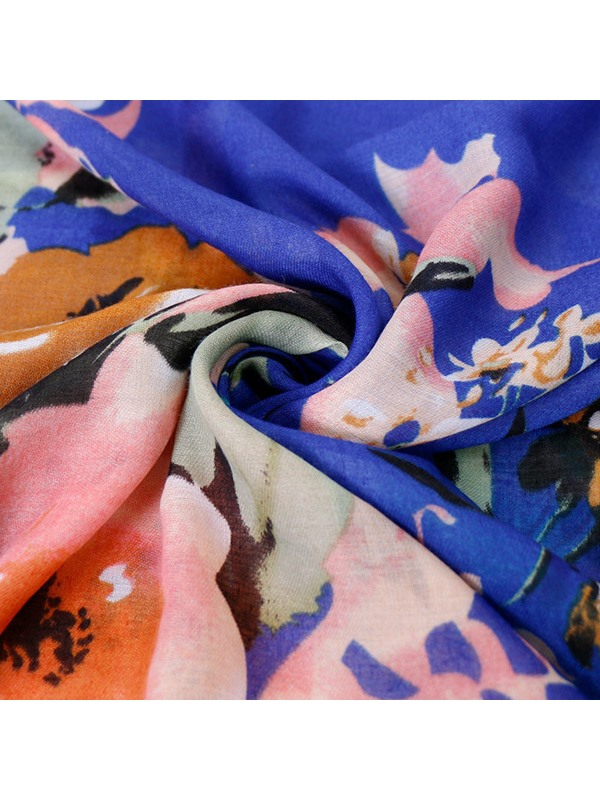 Floral Pattern Cotton Rough Selvedge Summer Lady Scarf