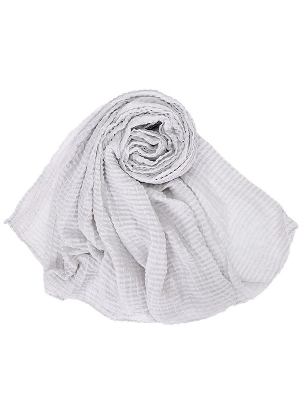 Pure Color Thin Solid Shawl Cotton Pleated Lady Scarf