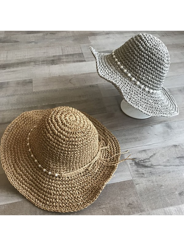 Straw Plaited Article Pearl Beading Sun Hat