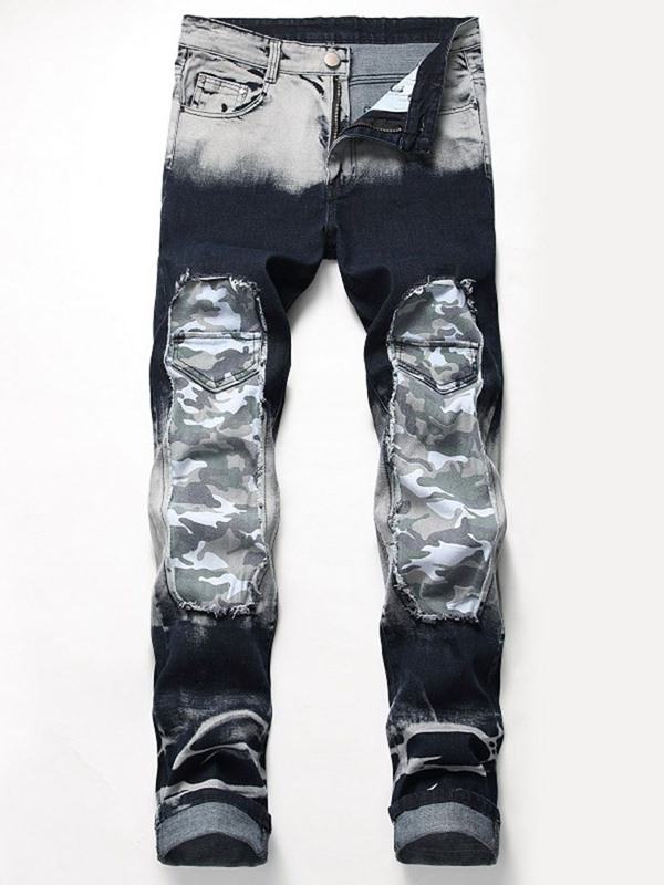 Worn Color Block Hole Camo Men's Ripped Jeans