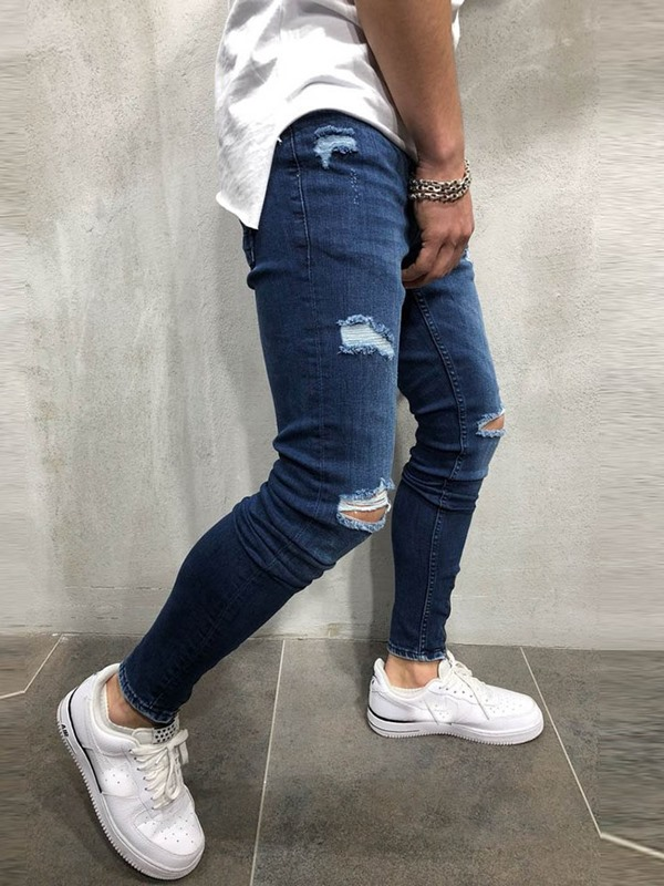 Plain Hole Worn Men's Ripped Jeans