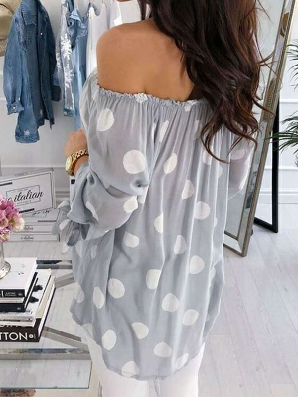 Lantern Sleeve Print Off Shoulder Nine Points Sleeve Mid-Length Women's Blouse