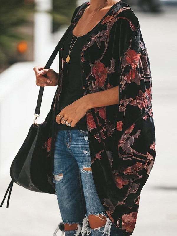 Vintage Floral Polyester Fall Women's Cape