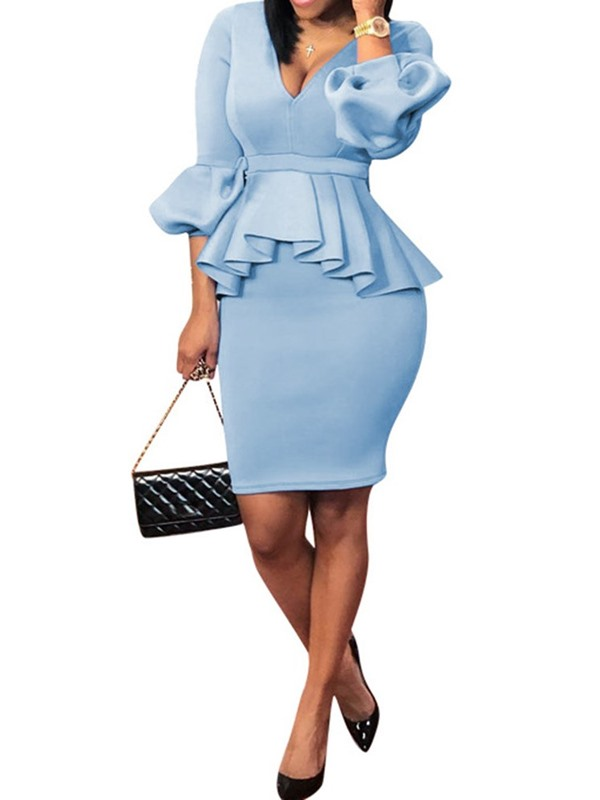 Office Lady Pleated Sweater V-Neck Bodycon Women's Two Piece Sets