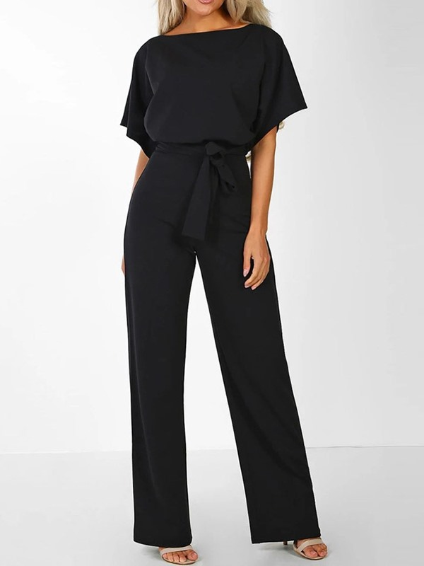 Bowknot Plain Loose Straight Short Sleeve Women's Jumpsuit