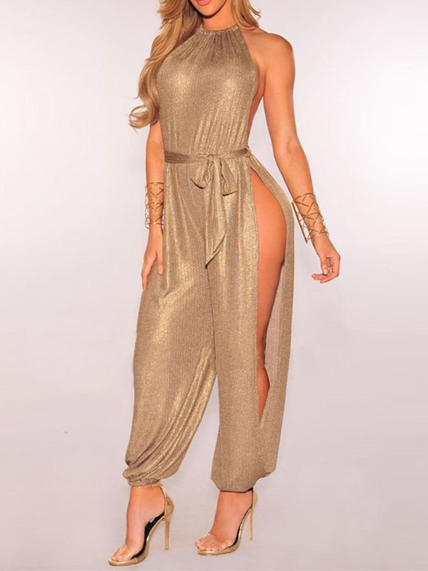 Full Length Plain Mid Waist Loose Women's Jumpsuit