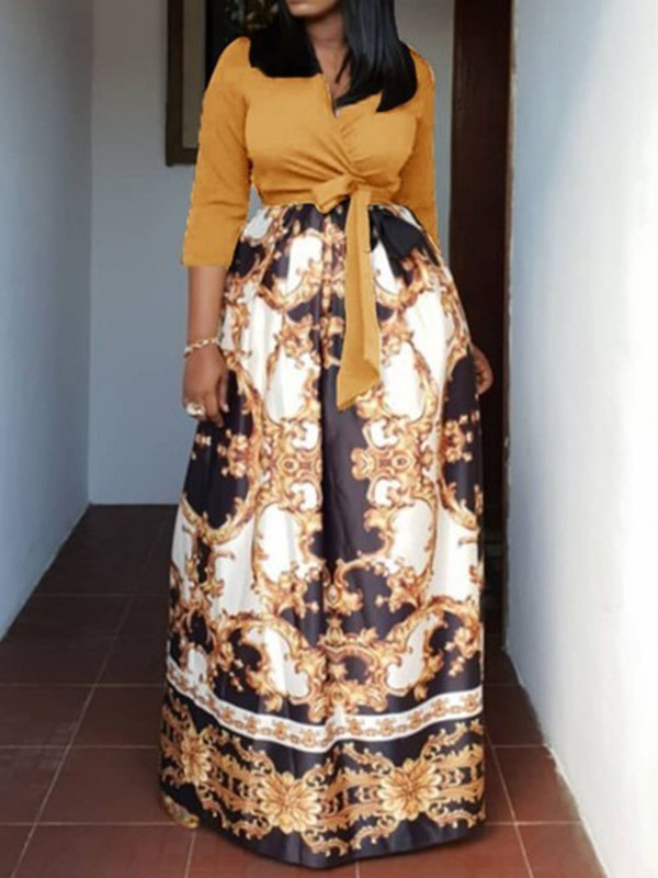 Long Sleeve African Fashion Patchwork V-Neck Women's A-Line Dress