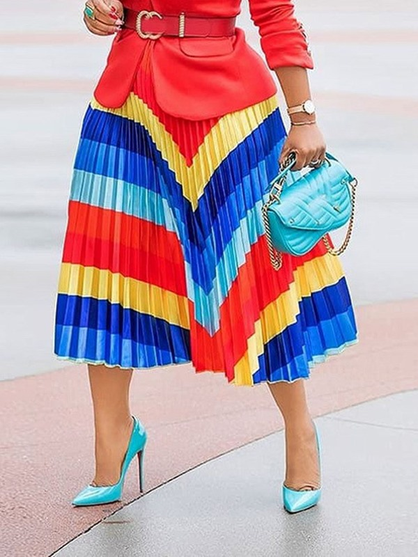 Mid-Calf Pleated Color Block Fashion Women's Midi Skirt