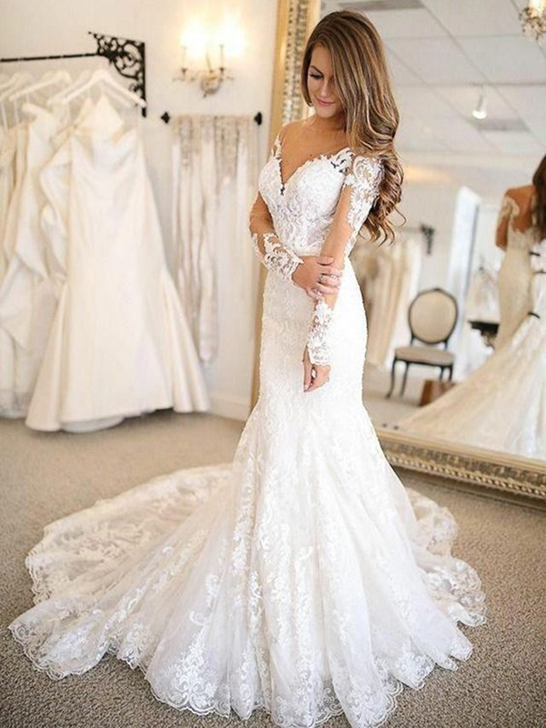 Appliques Mermaid V-Neck Brush Outdoor Wedding Dress 2019