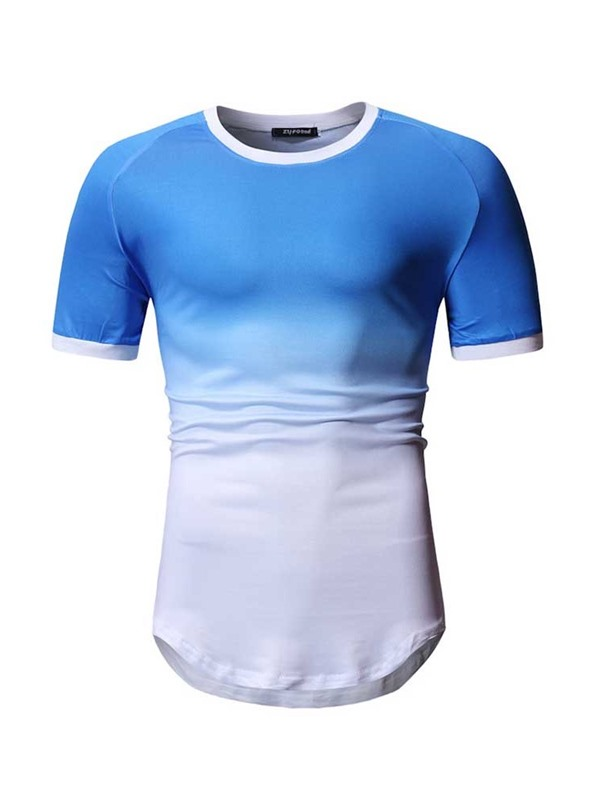 Gradient Round Neck Short Sleeve Men's T-shirt