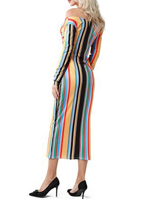 Mid-Calf Print Long Sleeve Off-The-Shoulder Stripe Women's Bodycon Dress