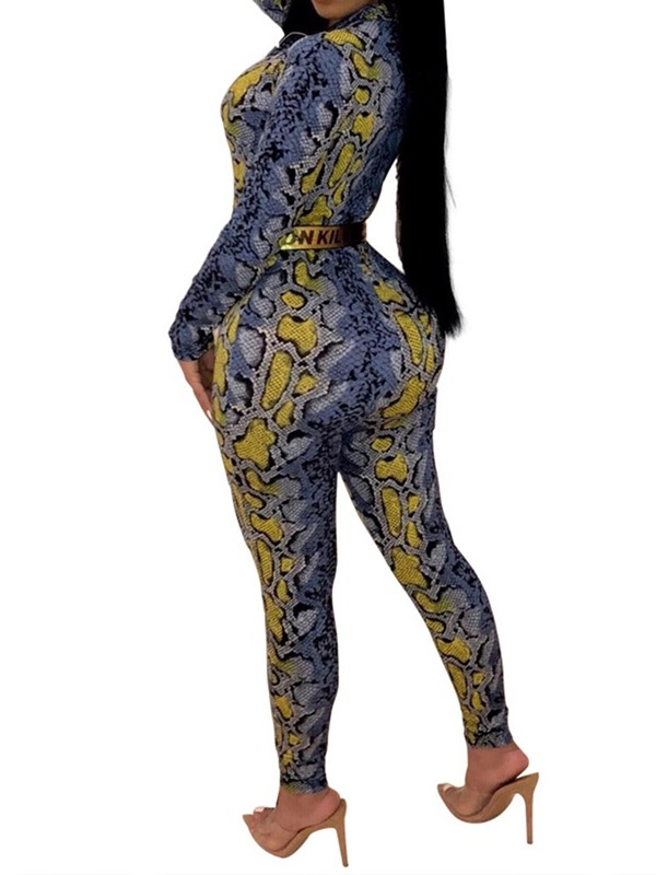 Serpentine Print Full Length Women's Jumpsuit (Without Belt)