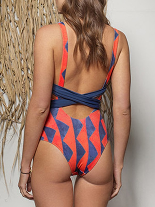 Lace-Up Color Block One Piece Sexy Swimwear