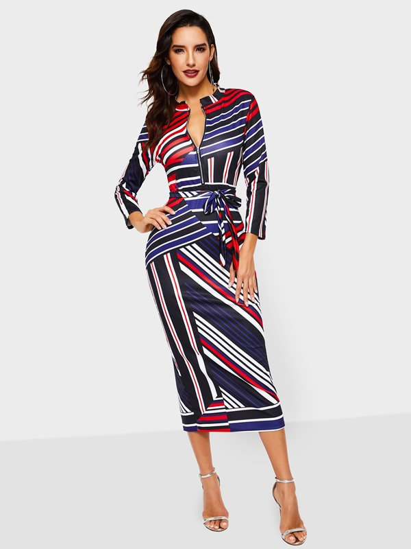Mid-Calf Long Sleeve Stand Collar Color Block Maxi Women's Bodycon Dress
