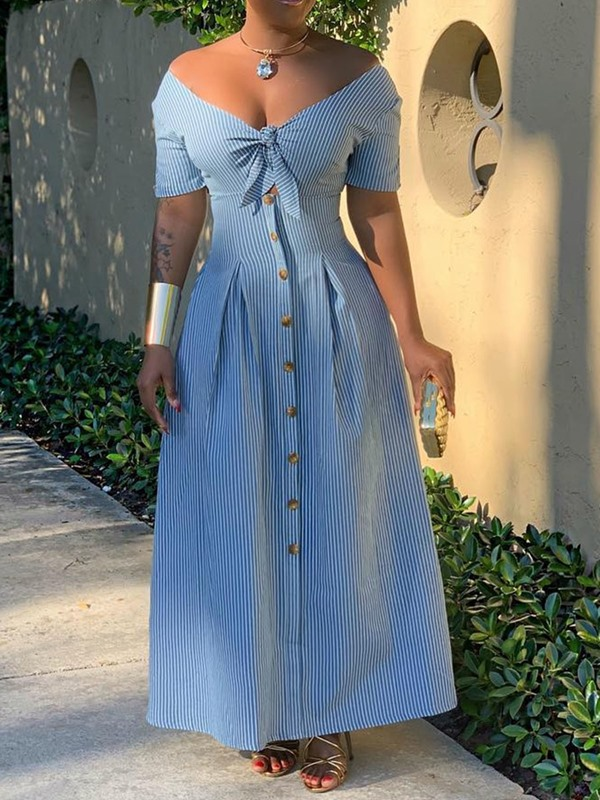 Ankle-Length Button V-Neck Single-Breasted Women's Maxi Dress