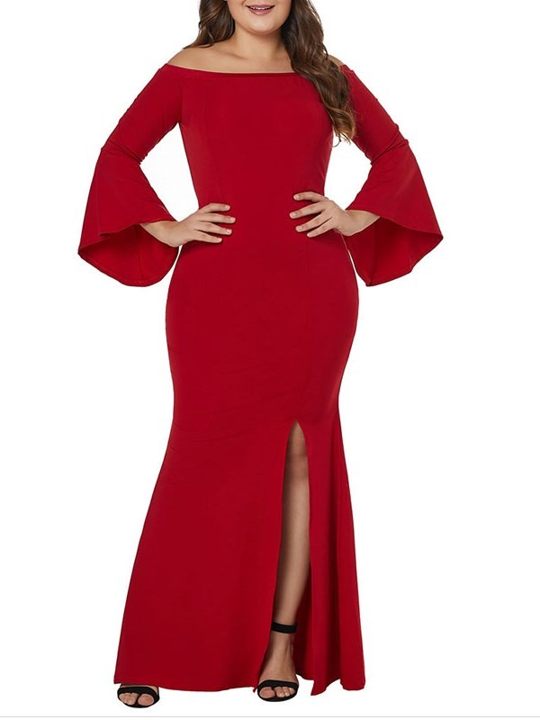 Trumpet Red Long Sleeves Floor-Length Evening Dress 2019
