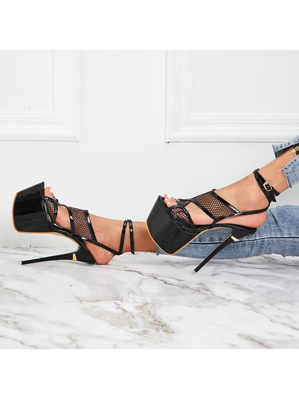 Strappy Open Toe Buckle Mesh Hollow Sandals