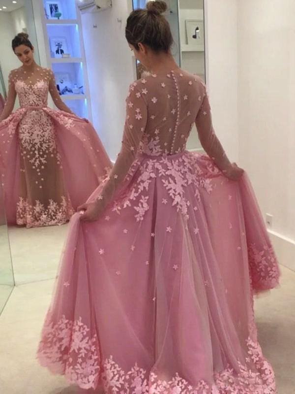 Scoop Floor-Length Appliques Long Sleeves Evening Dress 2019