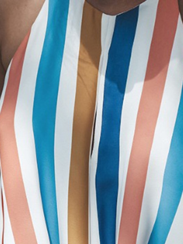 Lace-Up Summer Polyester Striped Women's Tank Top