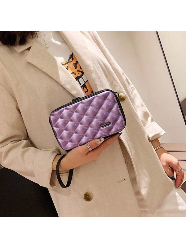 Plaid Quilted Lining PVC Flap Crossbody Bags