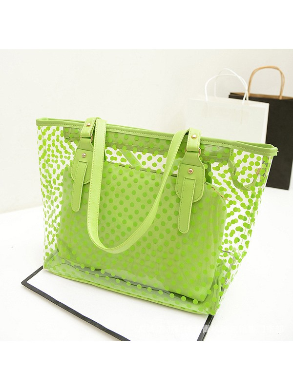 Belt-Decorated PVC Polka Dots Rectangle Tote Bags