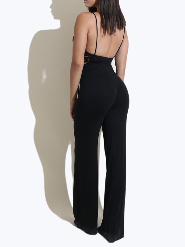 Backless Lace-Up Full Length Mid Waist Slim Women's Jumpsuit