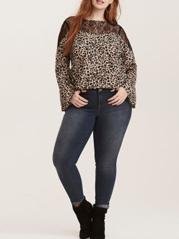 Leopard Long Sleeve Plus Size Sexy Straight Women's T-Shirt