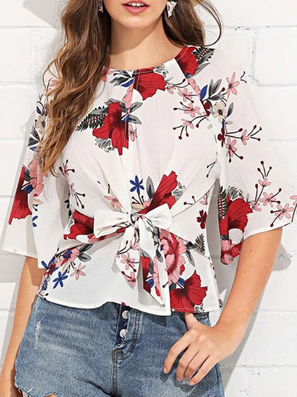 Floral Print Half Sleeve Bowknot Women's Blouse