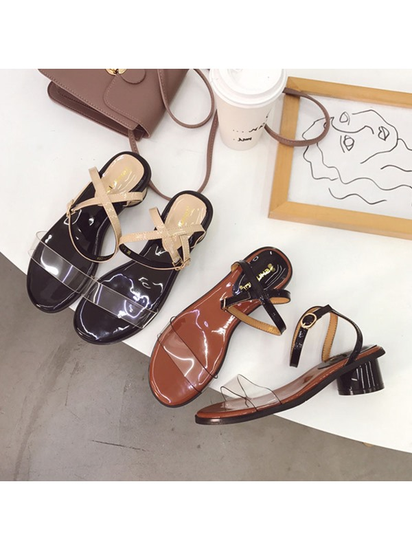 Buckle Chunky Heel Open Toe Casual Sandals