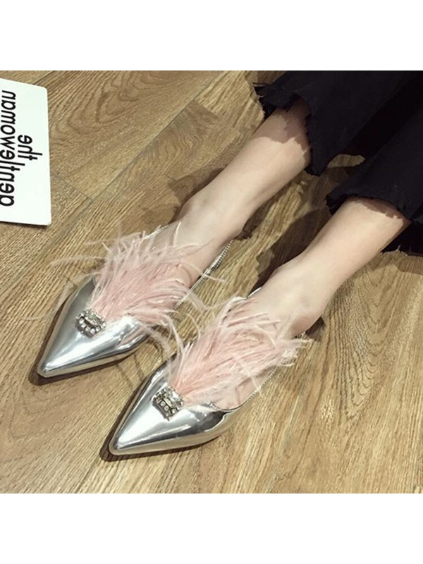 Slingback Strap Pointed Toe Feather Women's Sandals