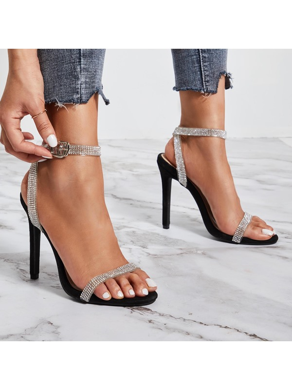 Open Toe Line-Style Buckle Stiletto Heel Prom Sandals