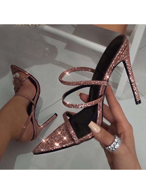 Stiletto Heel Slip-On Strappy Prom Sandals