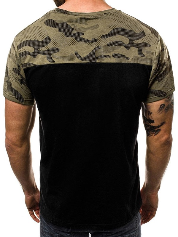 Color Block Camo Patchwork Short Sleeve Men's T-Shirt