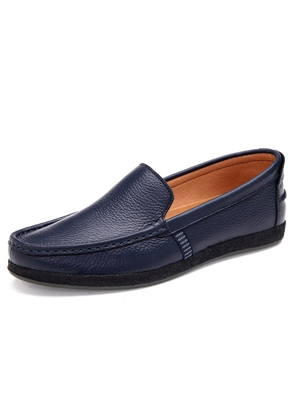 Plain Flat Heel Slip-On PU Men's Loafers