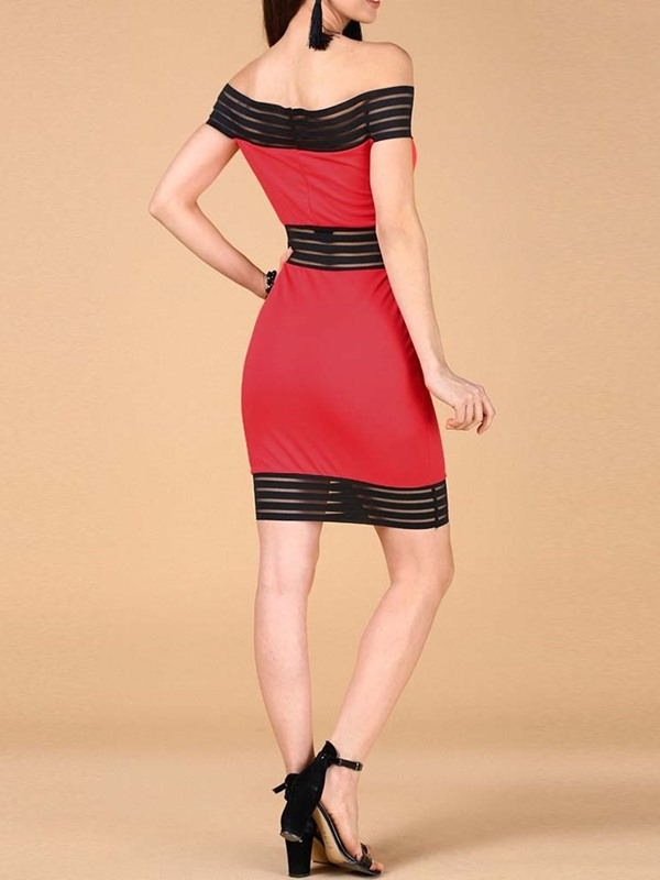 Above Knee See-Through Off Shoulder Women's Bodycon Dress