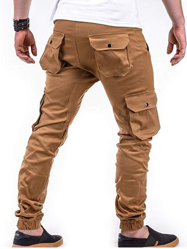 Lace-Up Pocket Plain Men's Casual Pants