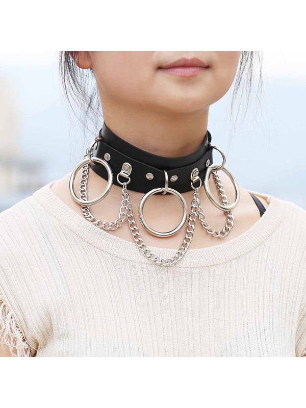 Punk Style Torques Iron Ring Design Choker Necklace