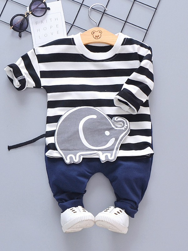 Long Sleeve Striped T-Shirt Pants Baby's Two Piece Set