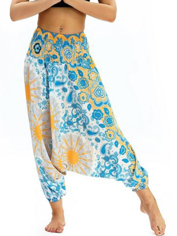 Flower Low Crotch Sports Bloomers Casual Loose Pants