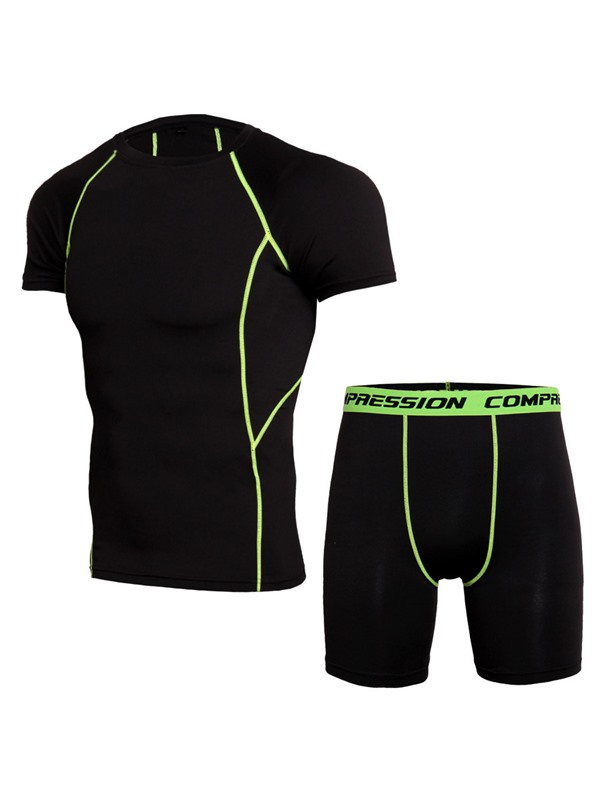 Men's Compression Short Sleeve T Shirt Sports Shorts Workout Shapewear