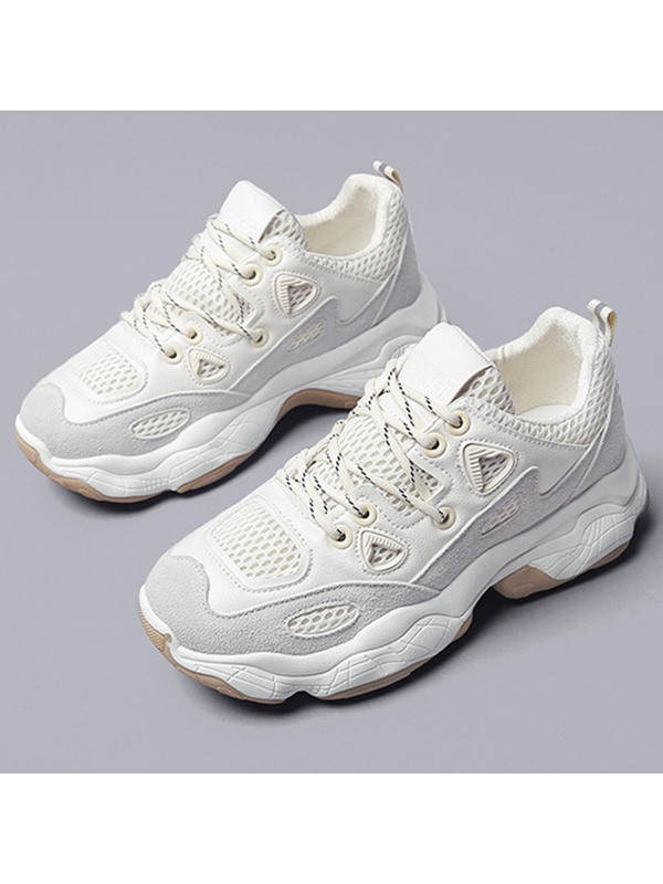Lace-Up Low-Cut Upper Mesh Women's Chunky Sneakers