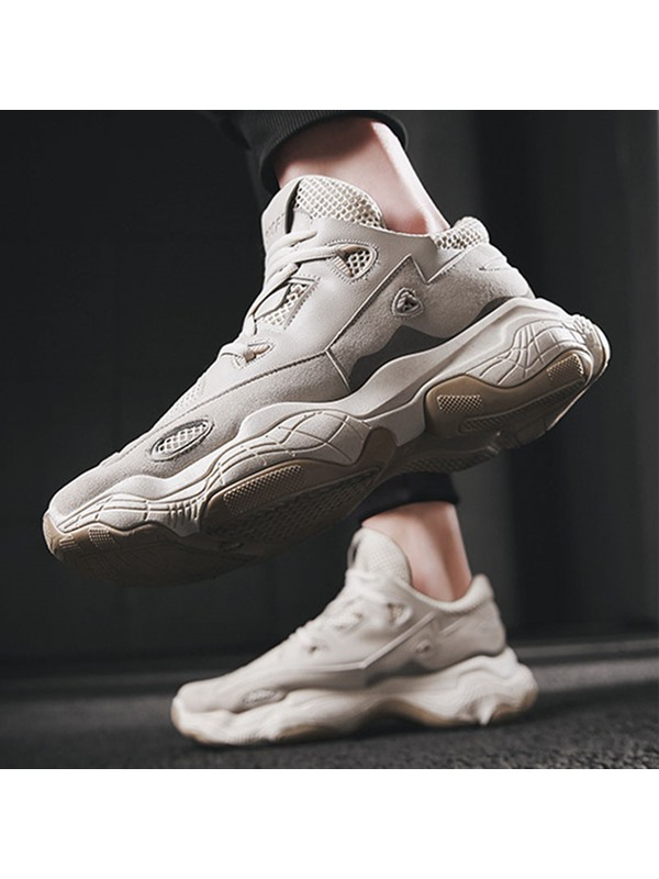 Lace-Up Round Toe Chic Chunky Sneakers for Men