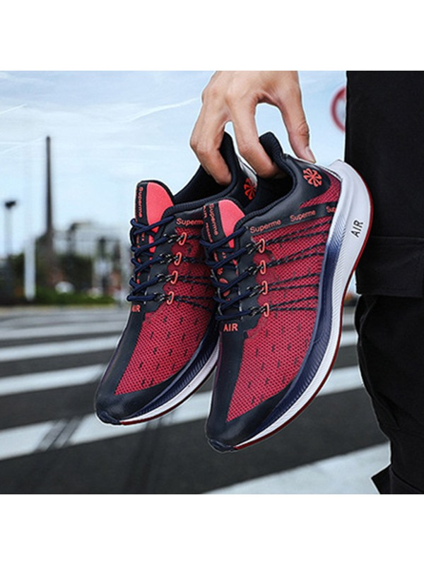Flat Lace-Up Patchwork Comfy Men's Sneakers