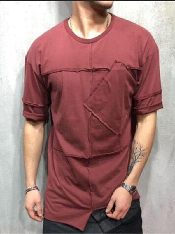 Plain Patchwork Casual Loose Men's T-Shirt