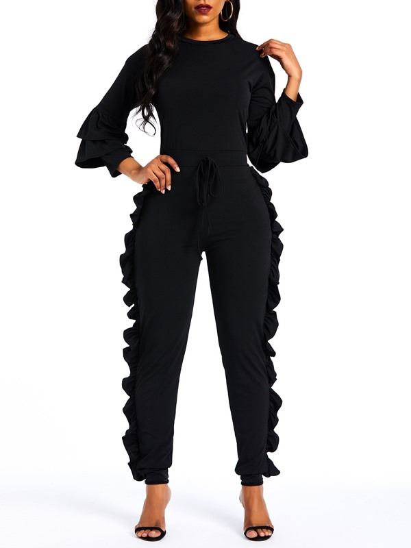 Casual Full Length Plain High Waist Slim Women's Jumpsuit