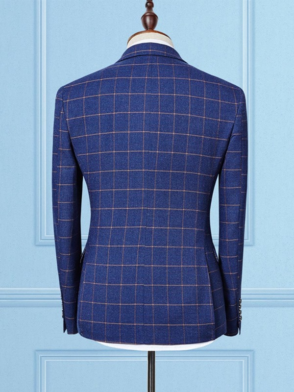 3 Pieces Plaid Formal Men's Dress Suit